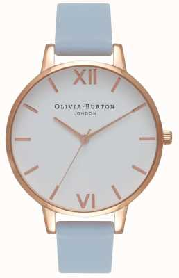 Olivia Burton | Frauen | großes weißes zifferblatt | Kreideblaues Armband | OB16BDW18