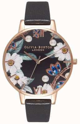 Olivia Burton | Frauen | bejeweled florals | schwarzes Lederband | OB16BF04
