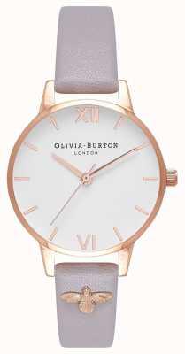 Olivia Burton | Frauen | 3d biene | verziertes leder grau lila armband | OB16ES11