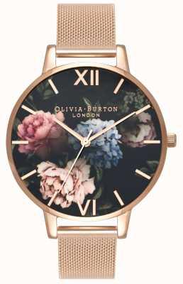 Olivia Burton | Frauen | dunkles Bouquet Zifferblatt | Roségold-Mesh-Armband | OB16WG52