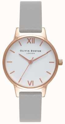 Olivia Burton | Frauen | weißes Zifferblatt | graues Lederband | OB16MDW05
