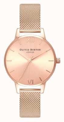 Olivia Burton   Frauen   midi   Sonnenstrahl Zifferblatt   Roségold-Mesh-Armband   OB16MD84