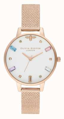 Olivia Burton | Frauen | Regenbogenbiene | Boucle Roségold-Mesh-Armband | OB16RB15