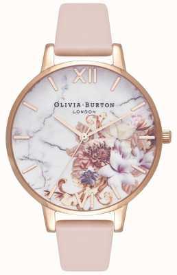 Olivia Burton | Frauen | Marmor Blumen | nacktes pfirsichfarbenes Lederband | OB16CS12