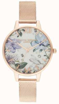 Olivia Burton   Frauen   bejeweled Blumen   roségoldes Netzarmband   OB16BF27