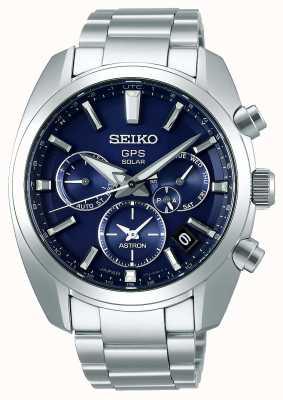 Seiko Astron Solar GPS Herren Armband aus Edelstahl mit blauem Zifferblatt SSH019J1