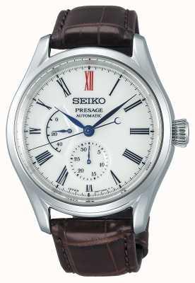 Seiko Presage Herren automatische Gangreserveanzeige aus braunem Leder mit weißem Zifferblatt SPB093J1