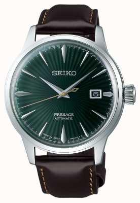 Seiko Presage automatisches grünes Zifferblatt 'Cocktail Time' braunes Lederband SRPD37J1