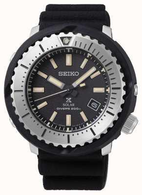 Seiko Prospex Solar Herren schwarzes Zifferblatt Taucher 200m schwarzes Armband silber SNE541P1