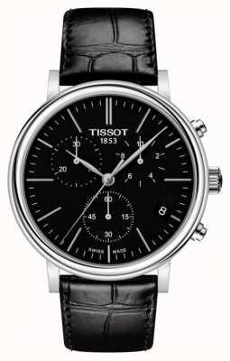 Tissot | herren carson | schwarzes chronographen zifferblatt | schwarzes Lederband T1224171605100