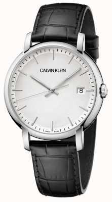 Calvin Klein | herren gegründet | schwarzes Lederband | weißes Zifferblatt | K9H211C6
