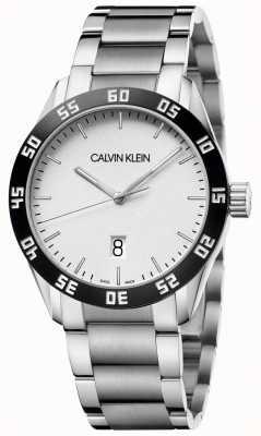 Calvin Klein   konkurrieren   herren   Edelstahlarmband   weißes Zifferblatt   K9R31C46