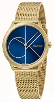 Calvin Klein Minimal | gold mesh armband | blaues Zifferblatt | K3M5255N
