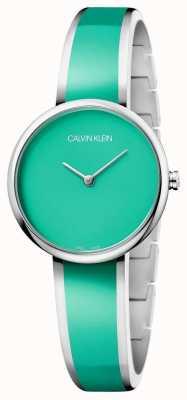 Calvin Klein   Frauen verführen Armband aus grünem Edelstahlharz   K4E2N11L