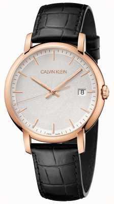 Calvin Klein | Herren minimal | schwarzes Lederband | weißes Zifferblatt | K9H216C6