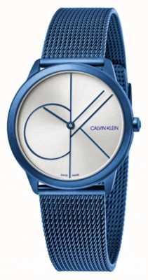 Calvin Klein Minimal | blaues mesh armband | silbernes Zifferblatt | K3M52T56