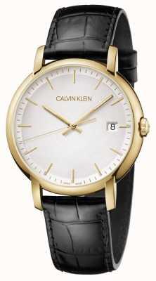Calvin Klein   Herren minimal   schwarzes Lederband   weißes Zifferblatt   K9H215C6