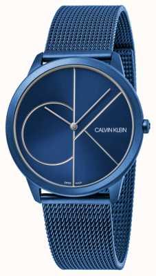 Calvin Klein | Frauen | minimal | blaues Netzband | blaues Zifferblatt | K3M52T5N