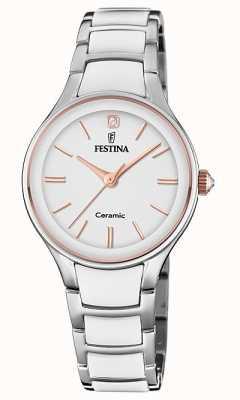 Festina | damen keramik | silber / weißes armband | Roségold / Weiß F20474/2