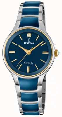 Festina | damen keramik | silber / blaues armband | blaues Zifferblatt | F20474/3