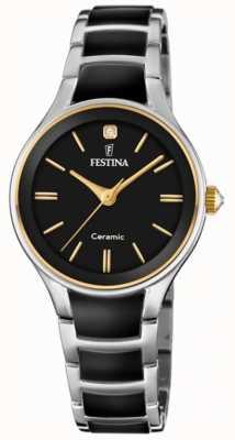 Festina | damen keramik | silber / schwarzes armband | schwarzes Zifferblatt | F20474/4