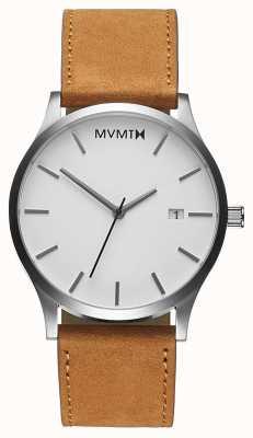 MVMT Klassische weiße Bräune | braunes Lederband | weißes Zifferblatt D-L213.1L.331