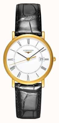 Longines Présence les grandes classique schwarzes Lederband L47776110