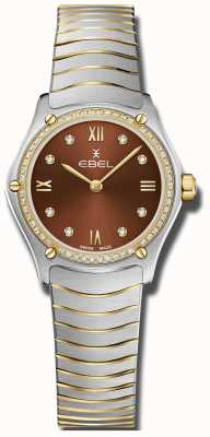 EBEL Frauensport Klassiker | braunes Zifferblatt | Diamant-Set | rostfrei 1216443A