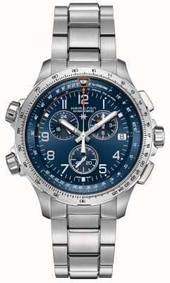 Hamilton | khaki luftfahrt x-wind gmt | blaues Zifferblatt | rostfreier Stahl H77922141