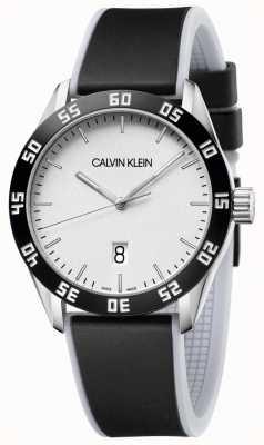 Calvin Klein | herren | konkurrieren | schwarzes Kautschukband | silbernes Zifferblatt | K9R31CD6