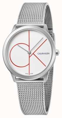 Calvin Klein   minimal   Edelstahlgewebe Armband   silbernes Zifferblatt   K3M52152