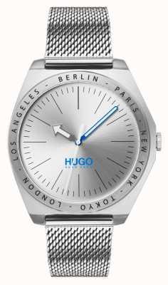 HUGO #act | Edelstahlgewebe | silbernes Zifferblatt 1530107