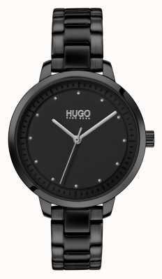 HUGO #achieve | schwarzes IP-Armband | schwarzes Zifferblatt 1540038
