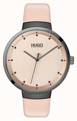 HUGO #go | rosa Lederband | roségoldfarbenes Zifferblatt 1540001