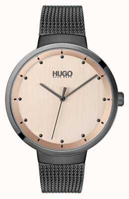 HUGO #go | graues ip mesh | roségoldfarbenes Zifferblatt 1540003