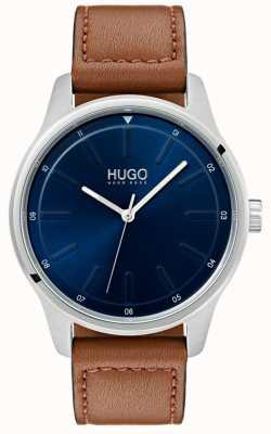 HUGO #dare | braunes Lederband | blaues Zifferblatt 1530029