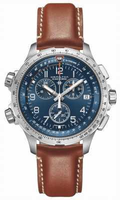 Hamilton | khaki luftfahrt x-wind gmt | blaues Zifferblatt | braunes Leder | H77922541
