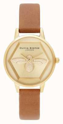 Olivia Burton   Wohltätigkeitsuhr der Biene 3d   Honig Tan Vegan Gurt   OB16AM167