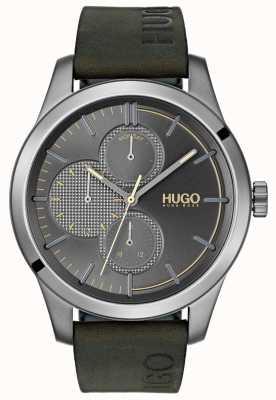 HUGO #entdecken | grünes Lederband | graues Zifferblatt 1530084