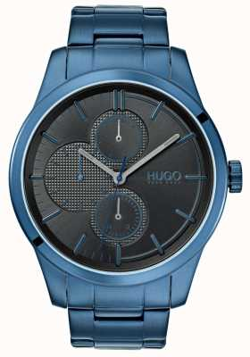 HUGO #entdecken | blaues ip armband | schwarzes Zifferblatt | 1530086