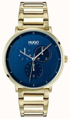 HUGO #guide | gold ip armband | blaues Zifferblatt 1530011