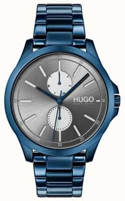 HUGO #springen | blaues ip armband | graues Zifferblatt 1530006