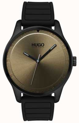 HUGO #move | schwarzes Kautschukband | Khaki-Zifferblatt 1530041