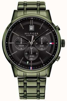 Tommy Hilfiger | grünes pvd überzogenes armband der männer | schwarzes Zifferblatt | 1791634