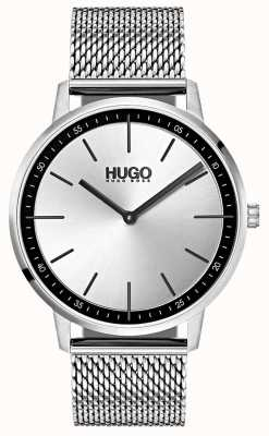 HUGO #exist | Edelstahlgewebe | silbernes Zifferblatt 1520010