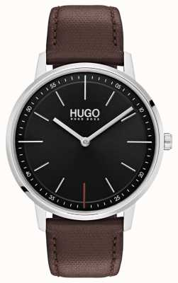 HUGO #exist | braunes Lederband | schwarzes Zifferblatt 1520014