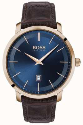 Boss   Herren Premium Klassiker   braunes Lederband   blaues Zifferblatt   1513745