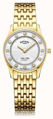 Rotary | frauen ultra slim gold pvd überzogen | Perlmutt Zifferblatt LB08303/41/D