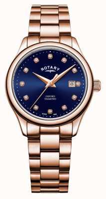 Rotary | Frauen Oxford | roségold pvd überzogen | blaues sunray zifferblatt | LB05096/05/D
