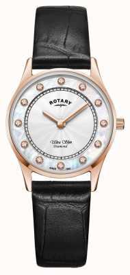 Rotary | ultraflaches schwarzes Leder für Damen | Perlmutt Zifferblatt LS08304/41/D
